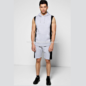 men's sleeveless sweat suits contrast gym tracksuit shorts track suits