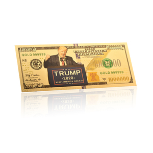 New Sales 2019 Gold 999999 Trump 2020 One MillIon Dollars Color Coins Gold Foil Amecica Banknote For Souvenir
