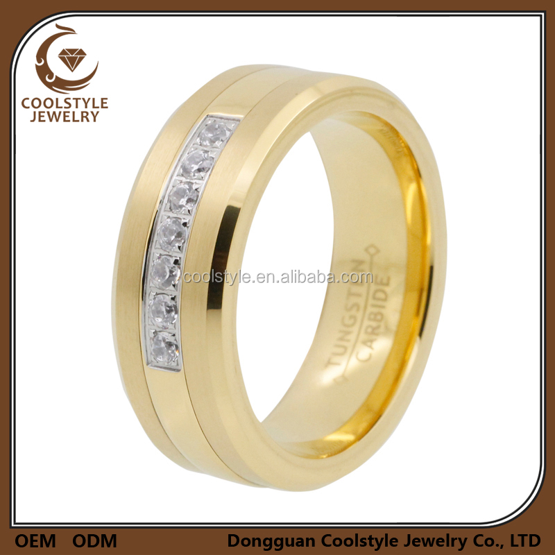8mm men's 18K gold plated Tungsten wedding ring 7 CZ inlay beveled edges