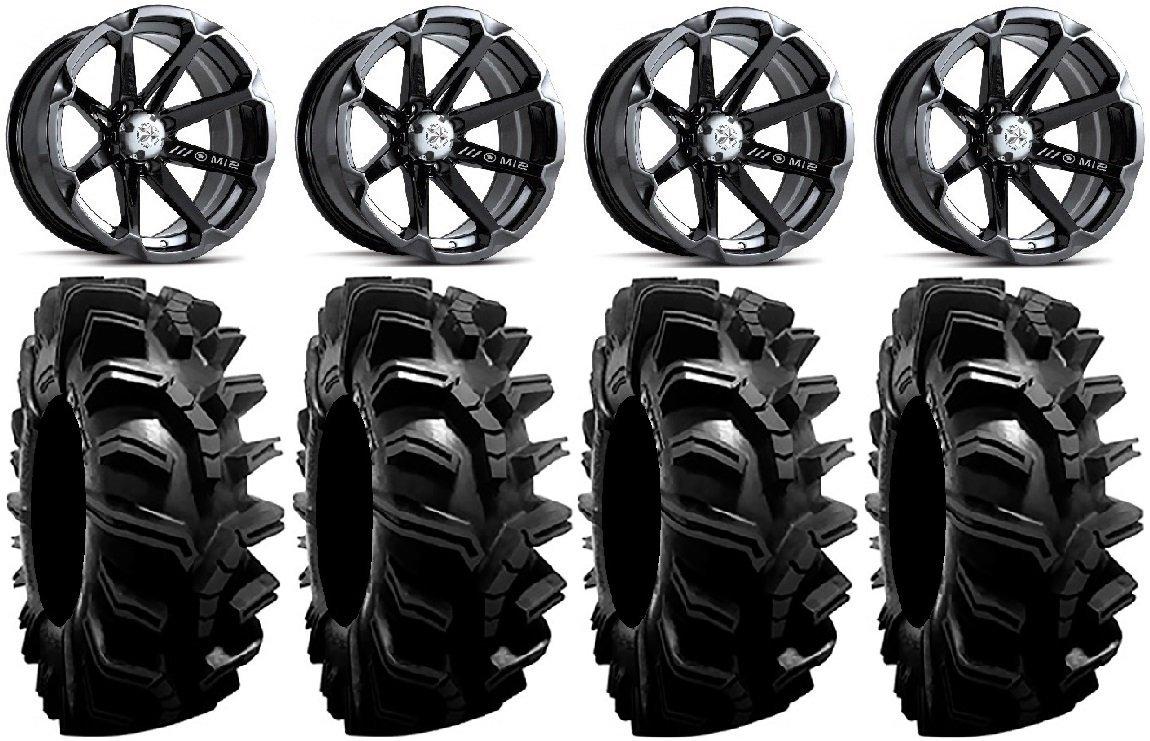 "Bundle - 9 Items: MSA Black Diesel 14"" ATV Wheels 32"" BogMax Tires [4x110 Bolt Pattern 10mmx1.25 Lug Kit]"
