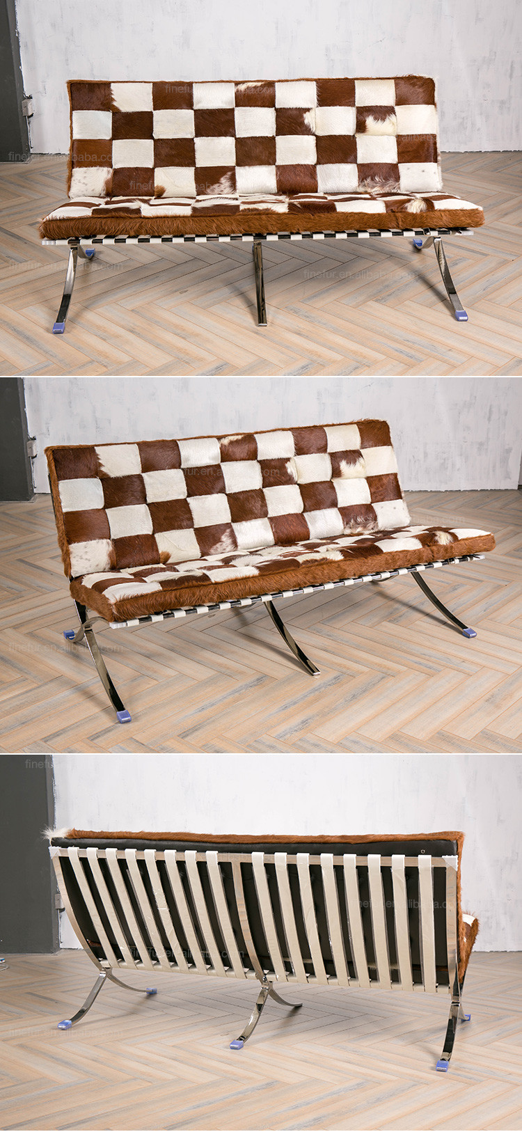Brown And White Stainless Frame Barcelona Modern Cowhide Sofa