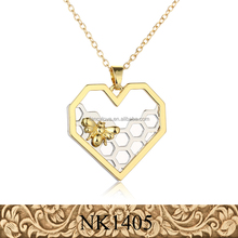 Fancylove Jewelry fashion heart bee pendant gold necklace animal charm fashion jewelry 2017