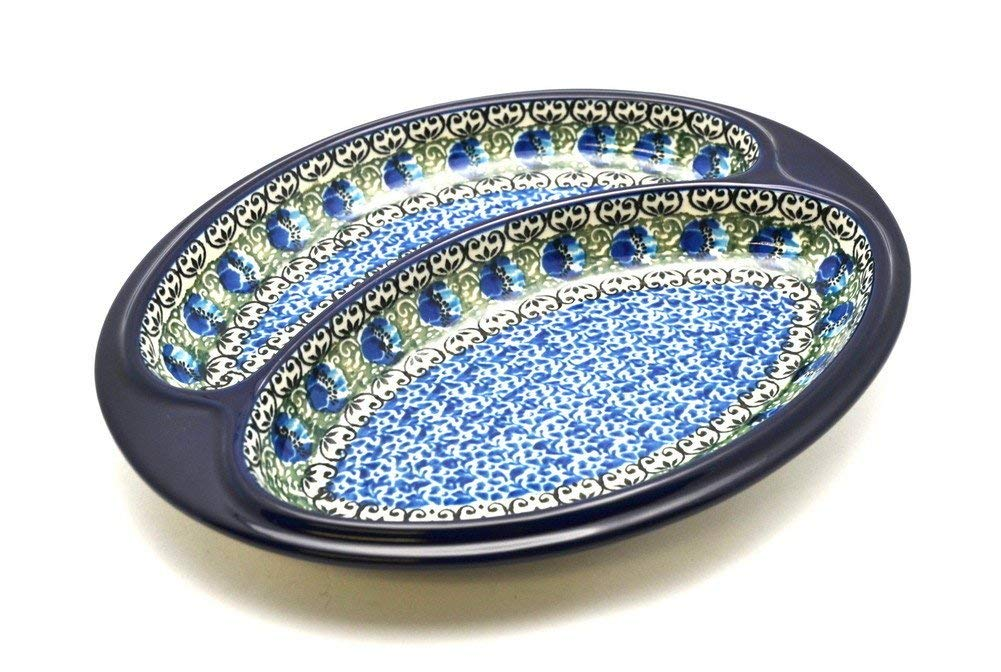 Polish Pottery Dish - Divided Polish Sausage - Peacock Feather