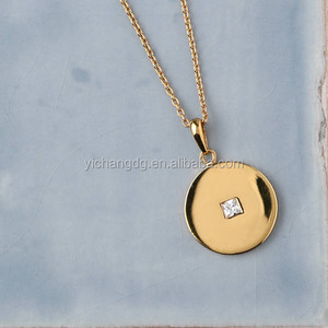 High Polished Stainless Steel Gold Plated Long Coin Pendant Necklace