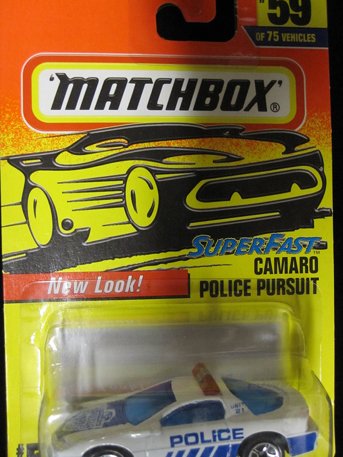 Camaro Police Pursuit (white/blue) Matchbox Superfast Collectible Car #59