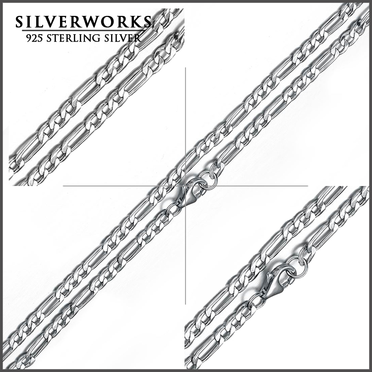 925 Sterling Silver Mens Figaro Chain Necklace For Men Silver 925 Jewelry