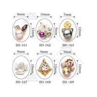 3d metallic artificial alloy nails art charms with fashion rhinestone made in china