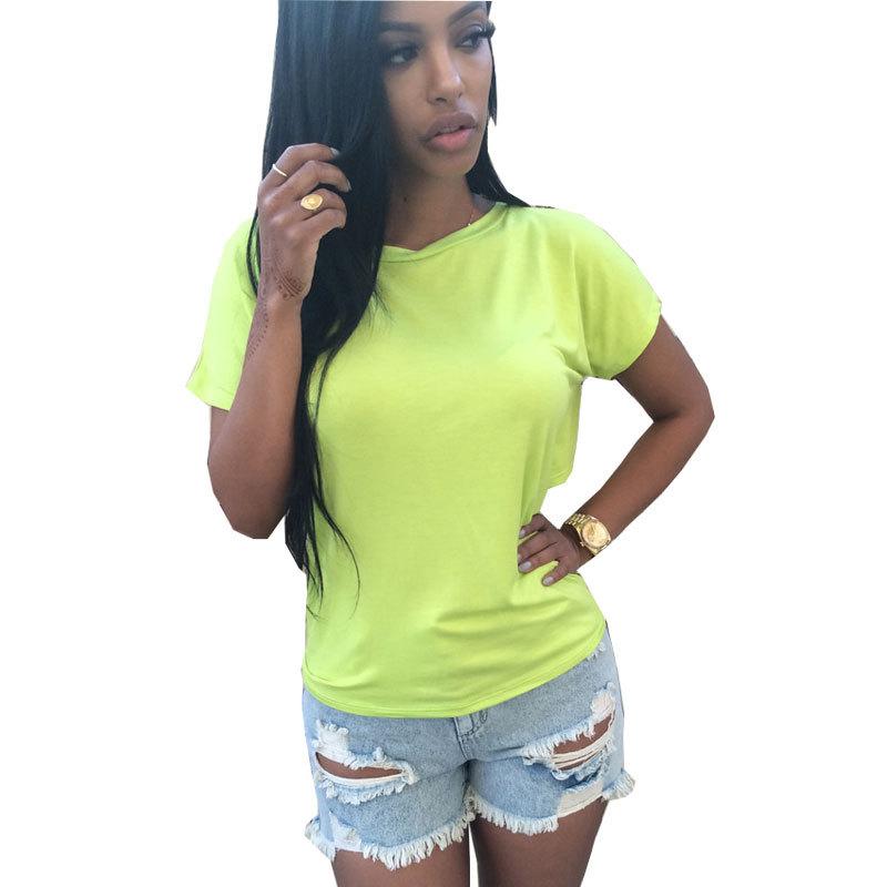 407ff0205f271 Get Quotations · Women Fluorescent Green T shirt Dress 2015 Summer Casual Shirts  Tops Cotton Shirts Short Sleeve Backless
