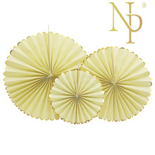 NICRO Custom high quality baby shower gold edge art lemon party paper fan girl's room decor wedding decoration party decor