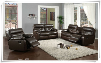 Dark Brown Leather Recliner Sofa Set