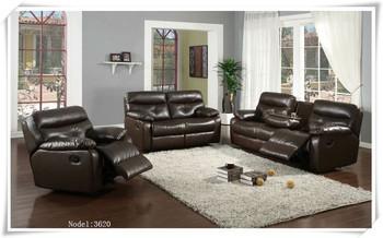 Made In China Dark Brown Leather Recliner Sofa Set Foshan Shunde