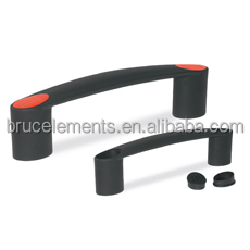 Plastic Bridge Handle with through bore and covering caps BK38.0081