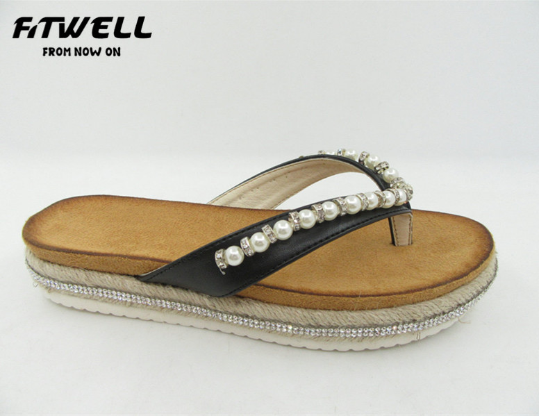 ladies new stylish pu upper slipper and sandals with pearl