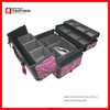 Pink PVC Aluminum Toolboxes Clear Plastic Makeup Drawers Makeup Train Case With Drawer