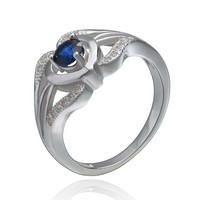 Trendy 925 Sterling Silver Jewelry Blue Cubic Zircon Silver/Rose Gold Solitaire Ring
