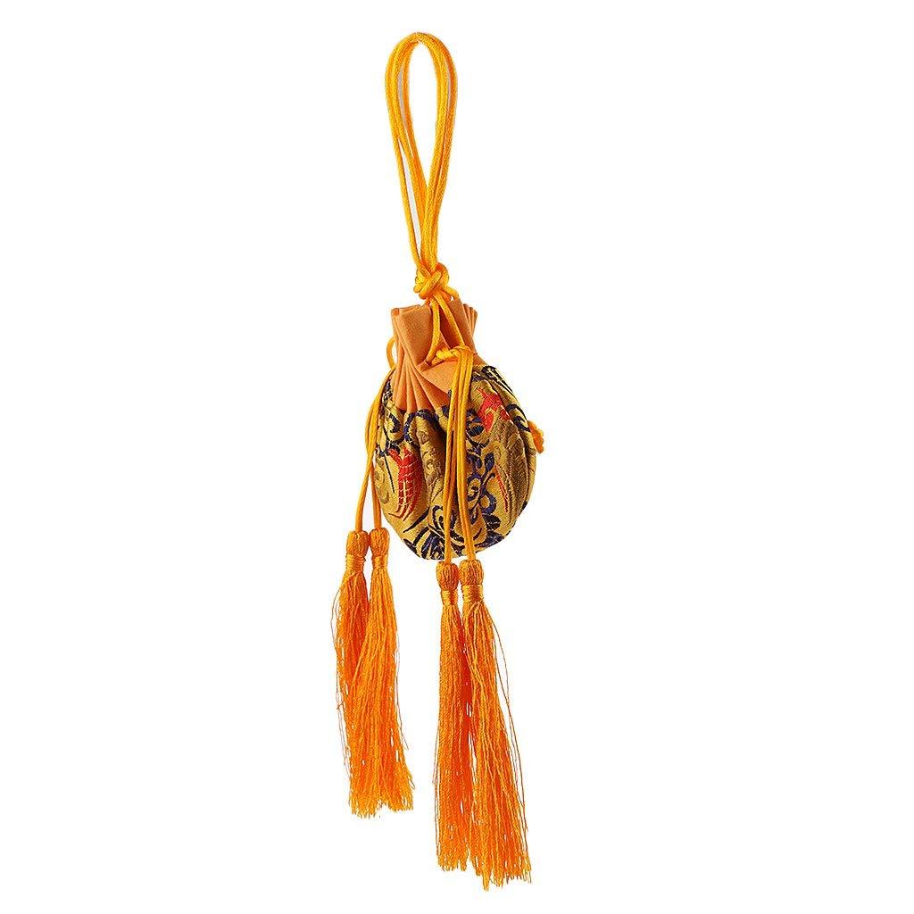 MonkeyJack Chinese Silk Embroidery Sachet Bag Pouch Empty Bag Jewelry Bag Wedding Gift - Yellow