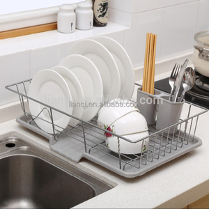 Stainless Steel kitchen plate storage dish drying rack with plastic salver