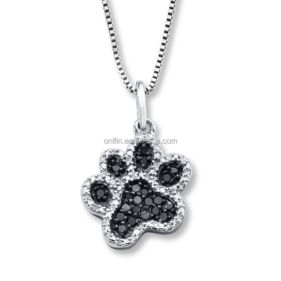 Fashion jewelry wholesale 925 sterling silver love cat paw prints fashion jewelry wholesale 925 sterling silver love cat paw prints pendant necklace mozeypictures Image collections