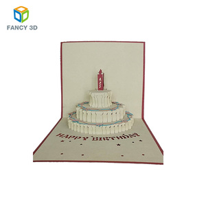 Zebulun Handmade Happy Birthday Cake Paper 3D Popup Greeting Card