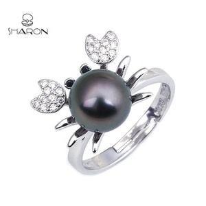 2018 Wholesale Hot Sale Silver Cute Big Crab Jewelry Round Natural Freshwater Fashion Pearl Ring