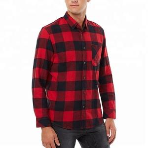 Custom Cotton Slim Fit Casual Flannel Long Sleeve Man Plaid Shirts