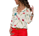 Blouses 2018 new designs Long Sleeve Blouse ladies Print Flower Button down Casual Chiffon Blouse Women