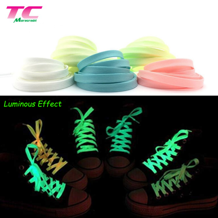 Wholesale Polyester Candy Color 100cm Polyester Athletic Shoelace Flat Reflective Shoelaces