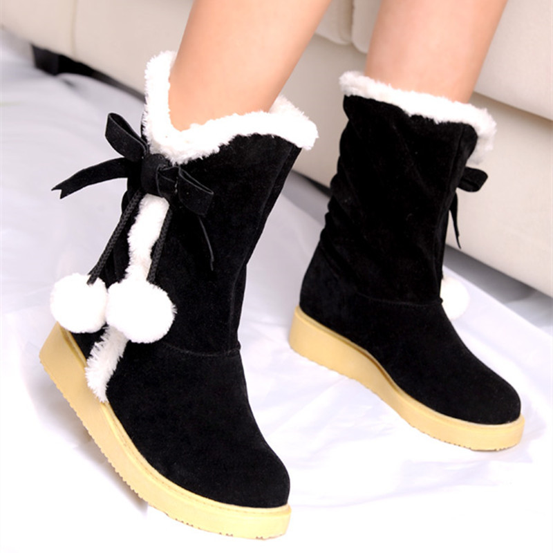 Buy Women Winter Shoes Flat Women Snow Boots Round Toe Mid Calf ...