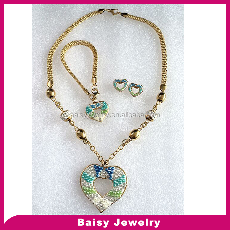 New design latest fashion stainless steel neclace set jewelry