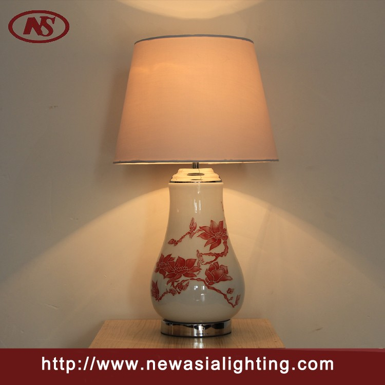Chinese Style Red Flower Ceramic Table Lamp For Hotel And Home ...