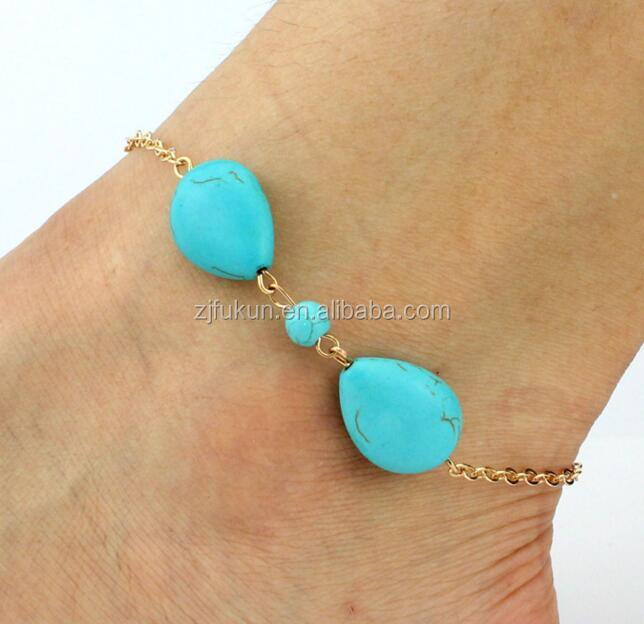 factory wholesale cheap turquoise stone beads alloy chain anklet