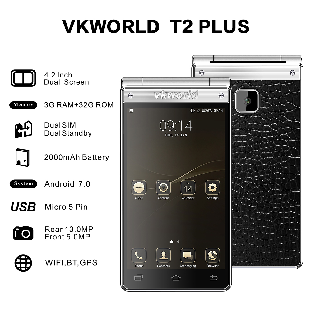 2018 New Product VKWORLD T2 PLUS 4.2 inch flip phone 3+32G dual screen 4g china smartphone dual sim OEM android mobile phone
