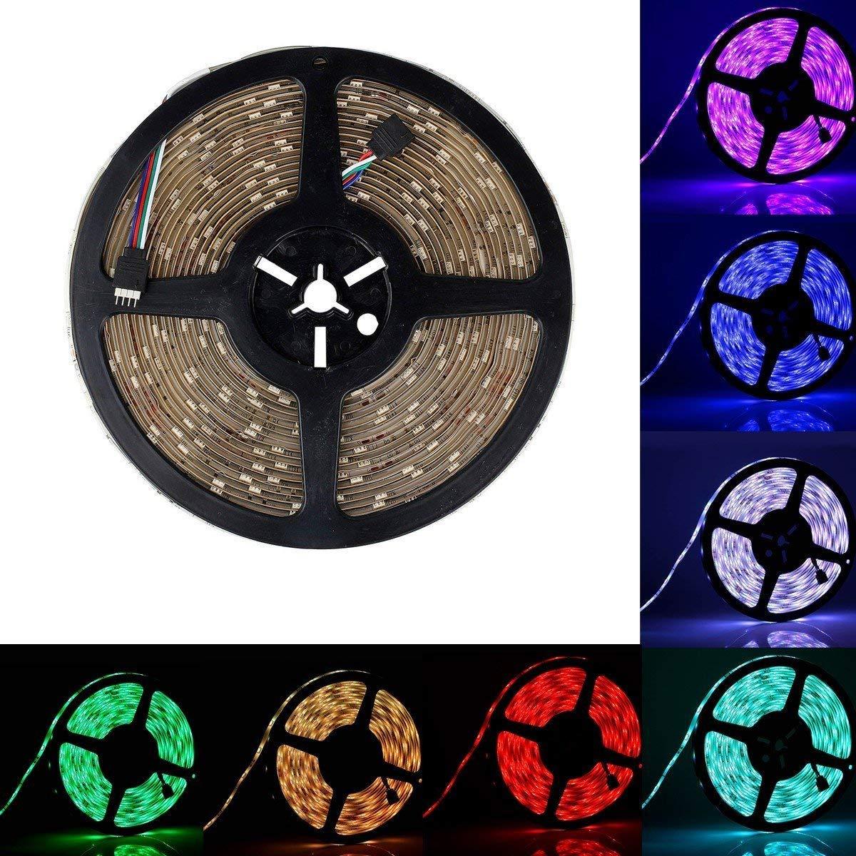 BZONE 10m 32.8FT Color Changing Flexible LED Strip Light 5050 SMD 300 LEDs RGB IP65 Waterproof LED Light Strip Rope Light DC 24V Decorative LED Lighting for Indoor Outdoor Decoration