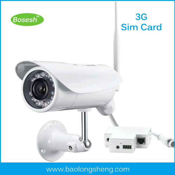 mobile sim card 3g phone network connection surveillance wireless p2p ip camera