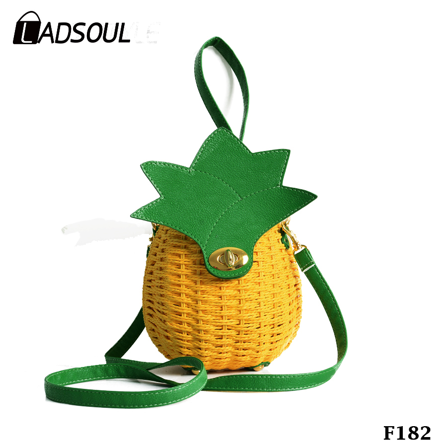 Women New Summer Pineapple Shaped Single Shoulder Straw Bag Round