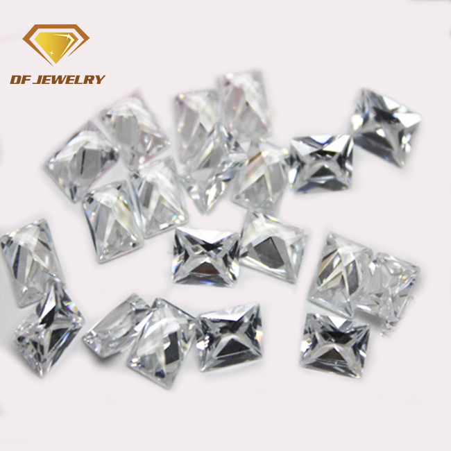 8x10mm princess cut white cubic zirconia gems for ring