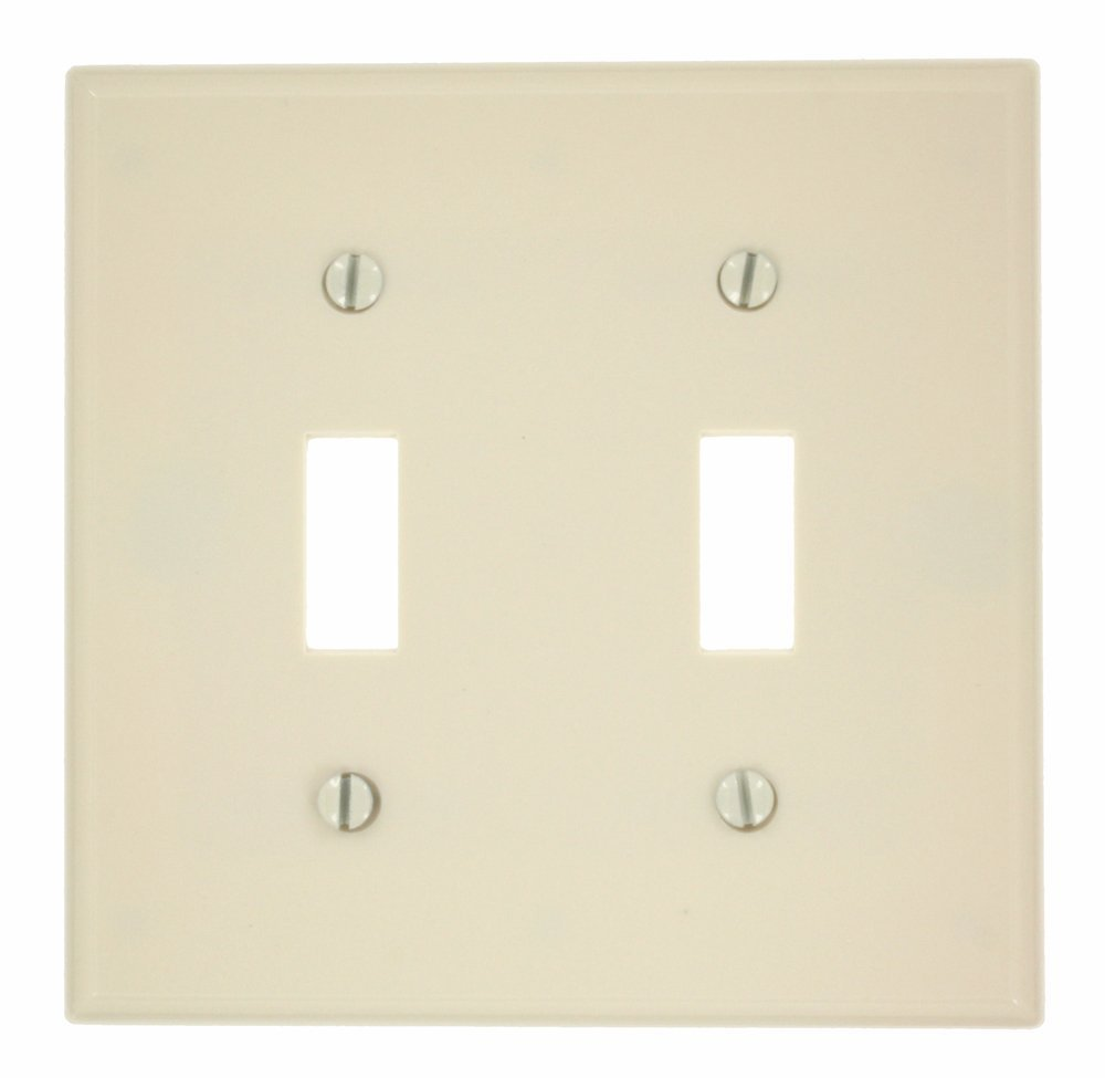 Leviton 78009 000-000 2-Toggle Standard Size Wall Plate, 2 Gang, 4.5 in L X 4.56 in W 0.25 in T, Smooth, 1-Pack, Light Almond
