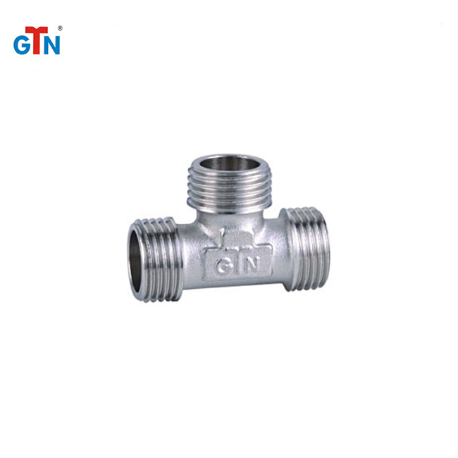 Manufacturer 3 way nickel plated brass pipe fittings ART060N tee fitting