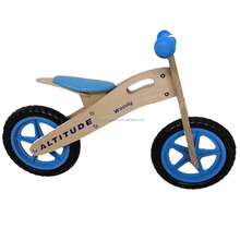 retro no pedal blue and wooden material balance bike for 2-3 years kids JKHD001