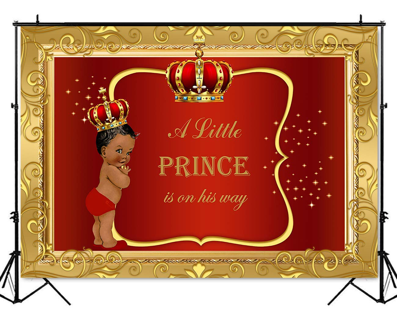 Mehofoto Royal Baby Shower Backdrop Little Prince Red Gold Photography Background 7x5ft Poly Cotton Royal Red Boy Baby Shower Party Banner Backdrops