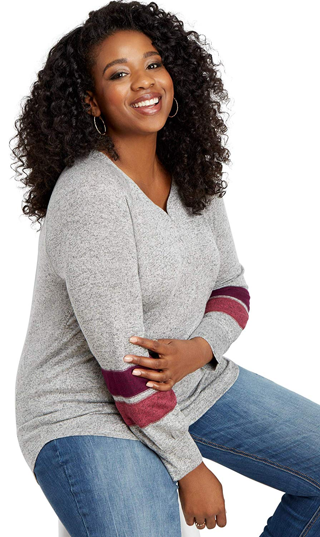maurices Women's Plus Size 24/7 Stripe Sleeve Henley Tee