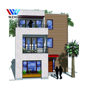 Modern steel frame prefab homes, 3 floor prefabricate villa plan design