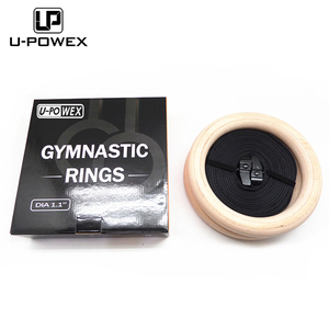 ABS wooden gym exercise gymnastic rings and strap