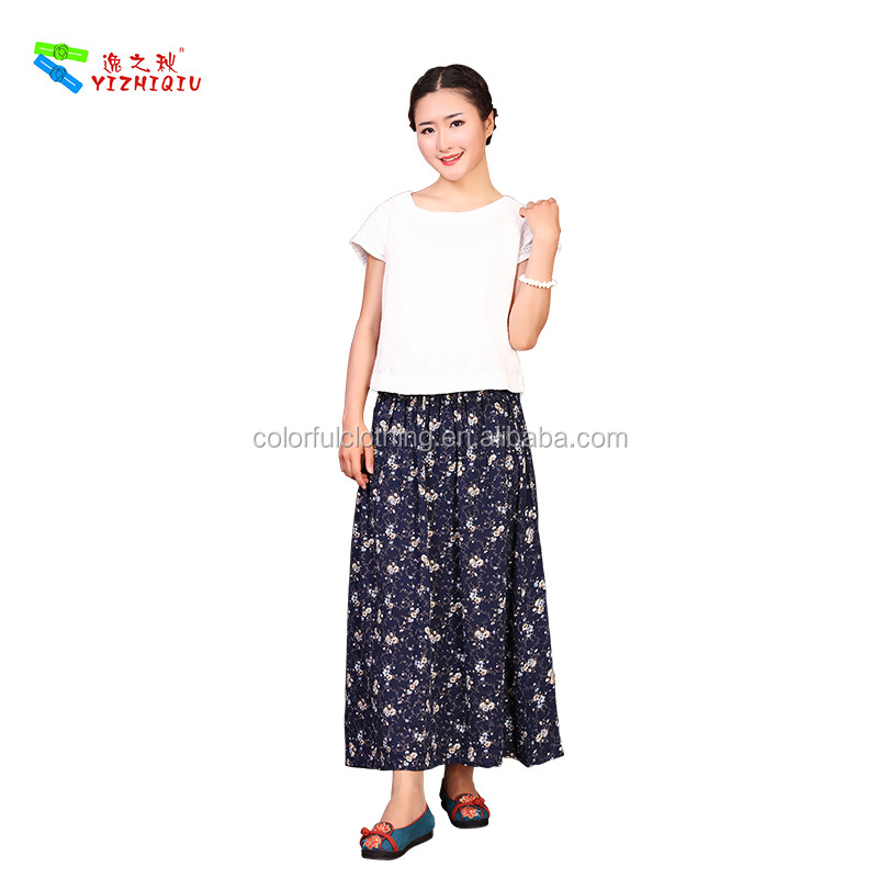 Latest Fashion Design High Waisted Sublimation Printed flower embroidery skirt
