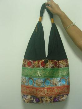 5293e0b40688 Thai Elephant Craft Hippie Hobo Shoulder Bag Cotton Silk Multi Color ...