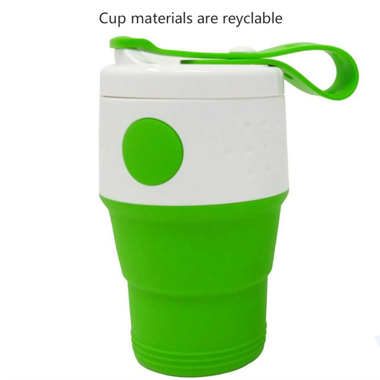Plastic folding cup blue Collapsible Travel Cup Silicone Mug Custom Coffee Mugs
