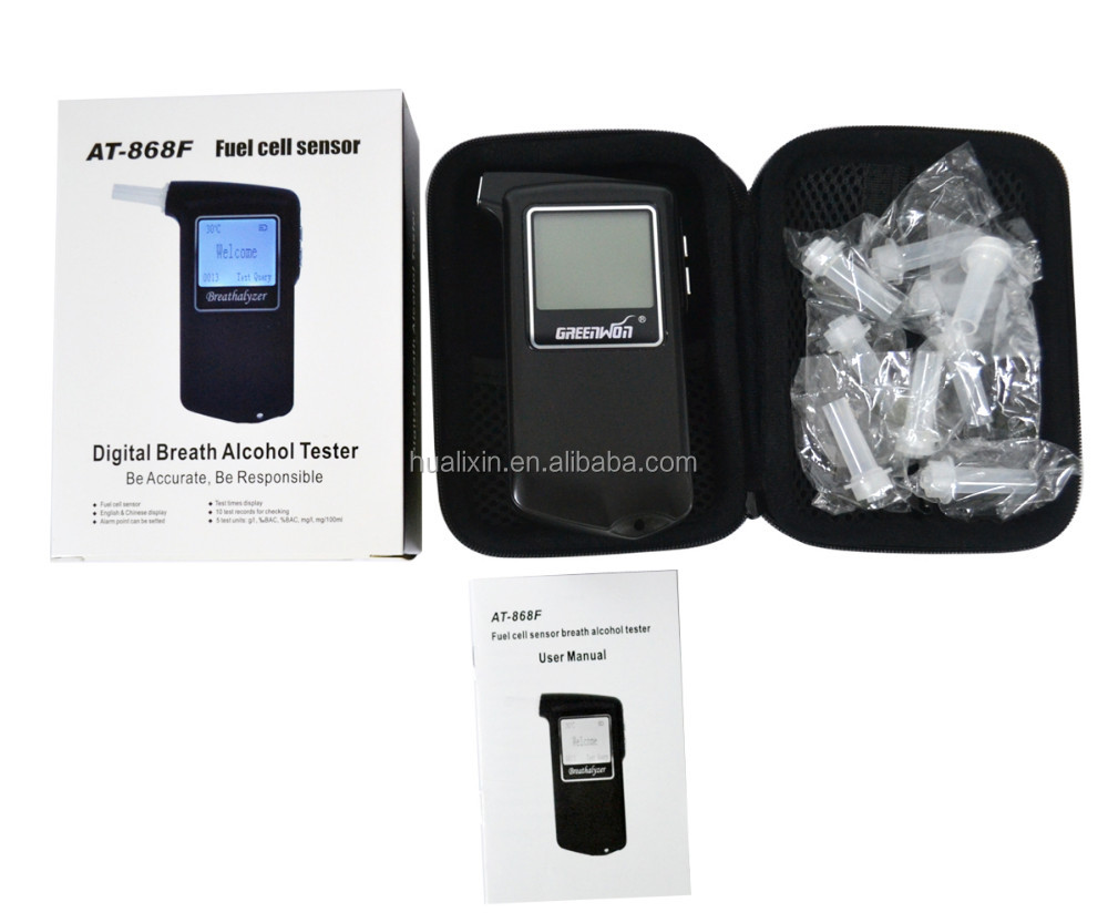 Greenwon AT868F Professional Fuel Cell High Accurate Digital Breathalyzer Alcohol Tester / Auto Pwer off Alcohol Tester for Wine