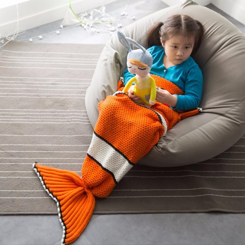 Kinder Gestrickte Häkelmuster Meerjungfrau Decke Mit Nemo Schwanz ...