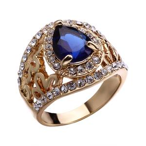 Vintage Women Blue Sapphire Crystal Wedding Ring Set Blue Gemstone Cubic Zirconia Black Gold Plated Couple Rings