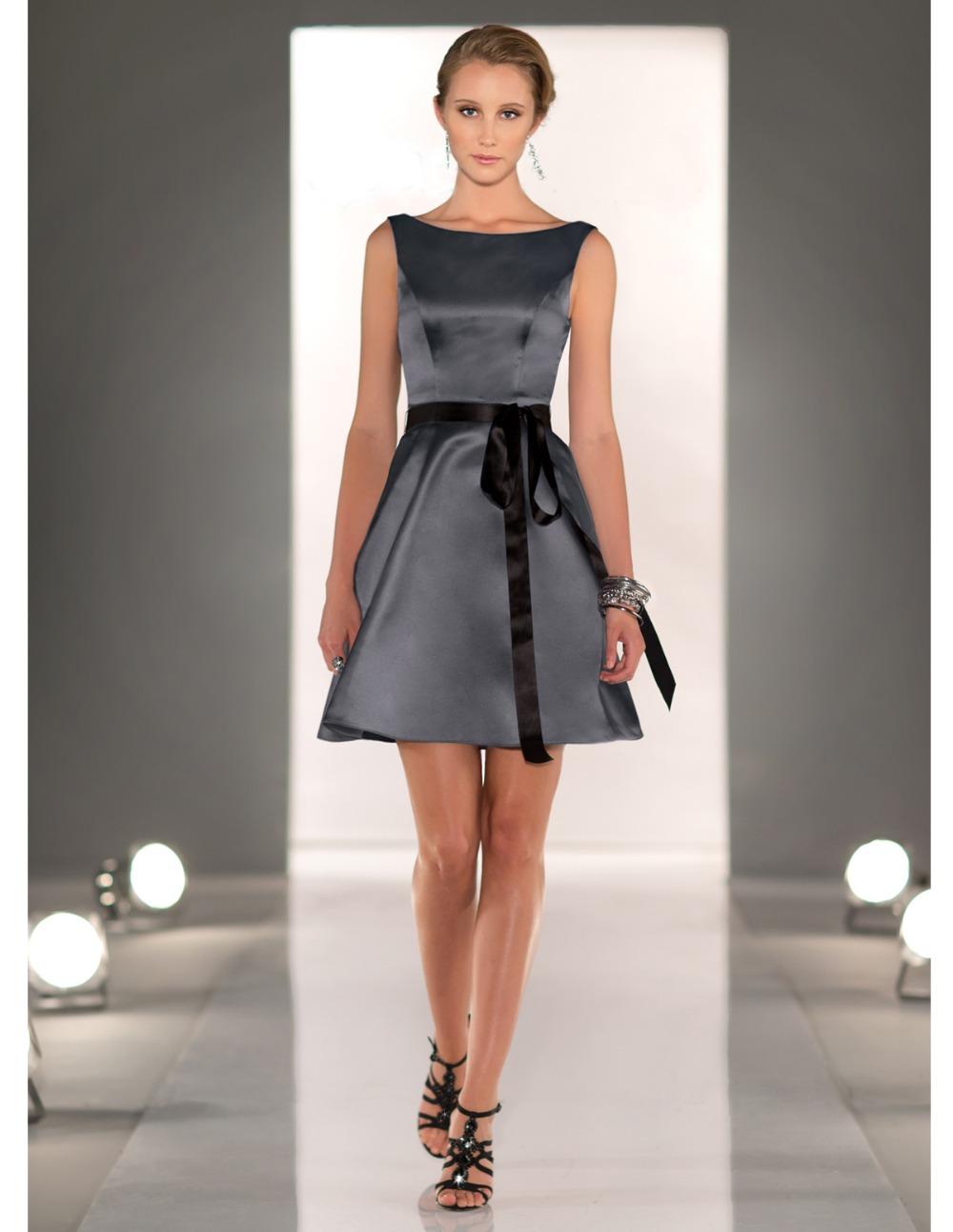 vestidos de fiesta corto elegante 2015 satin gray short. Black Bedroom Furniture Sets. Home Design Ideas